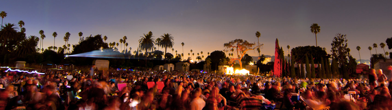 Cinespia screens outdoor movies at Hollywood Forever Cemetery all summer long. Buy tickets online. Image © Cinespia